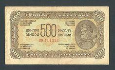 YUGOSLAVIA 500 Dinara 1944 -VF P54b WWII - VERY RARE IN ANY CONDITION http://www.ebay.com/itm/YUGOSLAVIA-500-Dinara-1944-VF-P54b-WWII-VERY-RARE-ANY-CONDITION-/161148328585?pt=Paper_Money&hash=item2585305a89