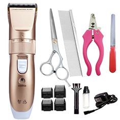 Waterproof Rechargeable Cordless Professional Dog Grooming Clippers Quite Low Noise Pet Hair Grooming Trimmers Clippers for Dogs and Cats *** Read more  at the image link.