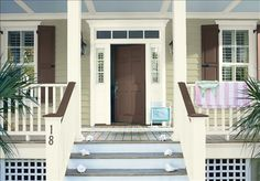 Look at the paint color combination I created with Benjamin Moore. Via Siding: Maritime White Trim: Snowfall White Door: Ocean Tropic Yellow Front Doors, Front Door Paint Colors, Siding Colors, Exterior Paint Colors For House, Painted Front Doors, Paint Colors For Home, Exterior Colors, Paint Colours, Exterior Design
