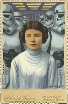 """The Art of Alex Gross - """"Leia's Very Bad Day"""" . Mixed Media on an Antique Photograph,"""