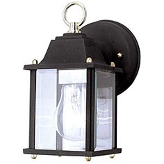 @Overstock - Illuminate your outdoor space with this one-light outdoor Aztec light. Made of durable steel, these weatherproof lights feature beautifully clear beveled glass and are UL certified. The 60-watt light gives off the perfect amount of glow.http://www.overstock.com/Home-Garden/Aztec-Lighting-Transitional-Black-Outdoor-1-light-Wall-Light/5797678/product.html?CID=214117 $21.49