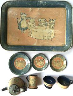 "Vintage 1930s Wolverine Tin Litho Child's Toy Tea Set ""Cat Dog Tea Party"" | eBay"
