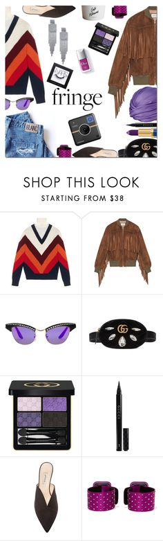 """""""Shimmy Shimmy: Fringe"""" by danielle-487 ❤ liked on Polyvore featuring Gucci, Yukiko, Attico, Couture Colour, Polaroid, NARS Cosmetics and fringe"""