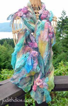 Felt Fabric, Fabric Art, Nuno Felt Scarf, Shabby, Ribbon Work, Nuno Felting, Felt Art, Silk Painting, Felt Crafts