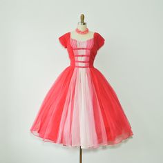 vintage 1950s pink chiffon tulle full skirt party dress / 50s dress small. $425.00, via Etsy.