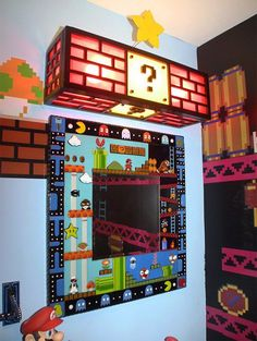 Game room wall art decor video new bathroom at ideas photography vintage games cool bedroom diy . art for the living room wall decor Game Room Decor, Wall Art Decor, Room Decorations, Mario Room, Video Game Rooms, Gamer Room, Nerd Room, Ideias Diy, Donkey Kong