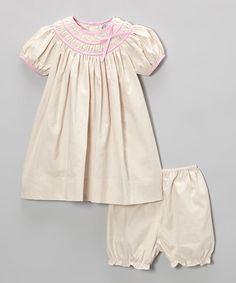 Take a look at this Khaki Gingham Dress & Bloomers - Infant & Toddler by Petit Pomme on #zulily today!