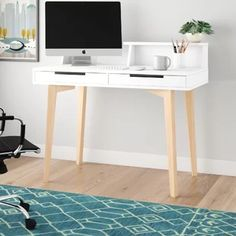 Ilsa Desk Norden Home Modern White Desk, White Desks, Bedroom Desk, Room Decor Bedroom, Bedroom Inspo, Printer Shelf, Youth Rooms, Contemporary Living Room Furniture, Solid Wood Desk