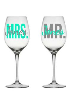 Mr and Mrs Wine Glasses, Engagement Wine Glasses, Wedding Gift, Bride and Groom Glasses, Mr & Mrs, Personalized Engagement Gift by YouDreamItDesigns on Etsy https://www.etsy.com/listing/212206844/mr-and-mrs-wine-glasses-engagement-wine