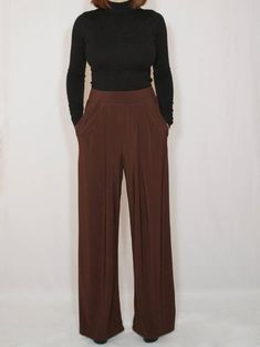Brown pants Wide leg pants with pockets Women by dresslike on Etsy Brown Pants Outfit For Work, Wide Pants Outfit, Brown Outfit, Fall Outfits For Work, Boho Pants, Red Pants, Outfits With Brown Pants, Wide Leg Pants, Navy Pants