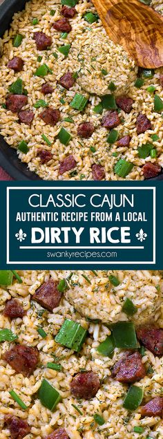 Classic Dirty Rice - A deeply Cajun seasoned rice dish you'll only find in New Orleans. A real and authentic dirty rice recipe from a New Orleans local. A taste of the French Quarter that is easy to make at home. Louisiana recipes I new orleans recipes I cajun food I creole I rice dressing I french quarter #nola #cajun #dirtyrice Cajun Dirty Rice Recipe, Best Dinner Recipes, Lunch Recipes, Cooking Recipes, Louisiana Recipes, Southern Recipes, Best Side Dishes, Side Dish Recipes
