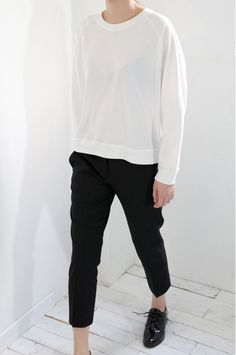 Chic Style - white top, black trousers, patent shoes