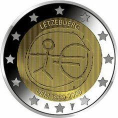 2 Euro Commemorative Coin Luxembourg 2009, Ten years of Economic and Monetary Union and the birth of the euro. 2 euro coins from Luxembourg