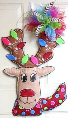 Whimsical Reindeer Christmas Burlap Door by MustLoveArtStudio, $40.00