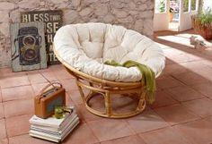 Home affaire Sessel »Papasansessel«, aus handgeflochtenem Rattan, natur, Webstoff, Ø 80 cm, naturfarben