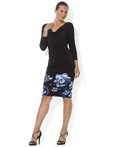 LAUREN RALPH LAUREN Three Quarter Length Sleeved Cowlneck Jersey Dress - BLACK MULTI -http://1tagdeals.com/fashion/shop/lauren-ralph-lauren-three-quarter-length-sleeved-cowlneck-jersey-dress-black-multi-2/