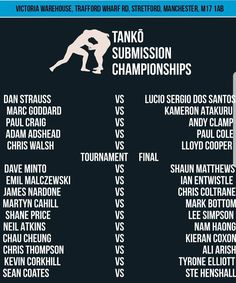 Running order for tomorrow.  You can watch live here guys - http://ift.tt/2pt7txb - first fight is at 3pm. Link also in my bio. Thanks for all the support!! @tankoevents #BJJ #FactoryBJJ #BJJinManchester