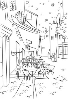 Cafe Terrace at Night by Vincent Van Gogh Coloring page from Famous paintings category. Select from 20890 printable crafts of cartoons, nature, animals, Bible and many more. Vincent Van Gogh, Desenhos Van Gogh, Van Gogh For Kids, Van Gogh Arte, Van Gogh Paintings, Famous Art, Free Printable Coloring Pages, Elementary Art, Colouring Pages