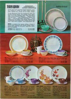 1962 ADVERTISEMENT 2 Page Texas Ware Melmac Dinnerware Plates Mayan Tiki Harvest & Vintage Melamine Melmac Dinnerware Set by Brook Park with Box ...