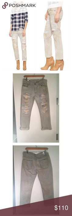 """NSF Free People Beck Distressed Jeans A light wash distressed slouchy straight boyfriend jean with a dirt effect.  :: 100% cotton :: 27"""" inseam :: 9 1/2"""" front :: Size down for Slim Boyfriend Look :: Will loosen up to a 1/2 size larger overtime :: Made in the USA   COLOR: LUCQUES Free People Jeans Straight Leg"""