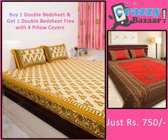 Buy One Sanganeri Printed Cotton Double Bedsheet and Get One Double Bedsheet Free with Four Pillow Cover (Offer Price: Rs 750 , Offered Discount: 53%) ** BUY NOW ** [MRP: Rs 1599]