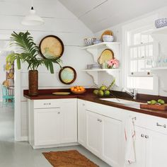 The kitchen countertops are crafted of ipe from the Dominican Republic.