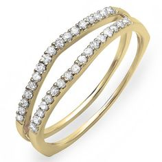 0.25 Carat (ctw) 14K Yellow Gold Round White Diamond Ladies Anniversary Enhancer Guard Matching Wedding Band 1/4 CT (Size 8) >>> You can get more details by clicking on the image.