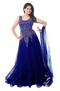 Net Party Wear Gown in Blue Colour.loor Length Anarkali for Pre-Wedding Functions - Be it your cocktail party or sangeet ceremony, this orange floor-touching Anarkali suit would make you look majestic...