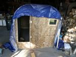 Big collapsible shanty, and insturctions for an ammo can stive to keep it warm!