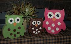NEW Wooden OWLS 3pc set Super CUTE Boys by SimpleBlockSayings, $34.95