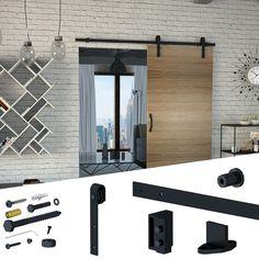 REA SET: Μηχανισμός βαρέως τύπου για συρόμενες  ξύλινες πόρτες τύπου αχυρώνα έως 100 kg. Η τιμή προσφοράς 79.58 από 1.06.20 για  πελάτες της VIALEXSHOP.GR Μεταφορικά έξοδα 6.00-8.00 ευρό Sliding Barn Door Hardware, Sliding Doors, Garage Doors, Barn Doors, Industrial Door, Industrial Office, Door Furniture, Types Of Doors, Steel Doors