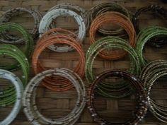Beaded bracelets Recycled Glass, Grapevine Wreath, Wicker Baskets, Grape Vines, Recycling, Beaded Bracelets, Wreaths, Home Decor, Armadillo