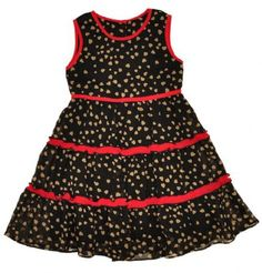 Girls Hearts Print Tiered Chiffon Sleeveless Fashion Dress  2 to 6 Years