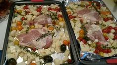 Bone in Chicken Breasts with potatoes, tomatoes, thyme, feta cubes, and zucchini