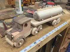 Handmade Wooden Toy Truck / Tractor Trailer Model w/ Tank Trailer #160603 Designed from a vintage model truck &it is also handmade from 100% hardwood. - One-Of-A-Kind - Free Shipping in U.S.A. *** Low Intl. Shipping Rates This toy is tough enough for play. It is built with quality