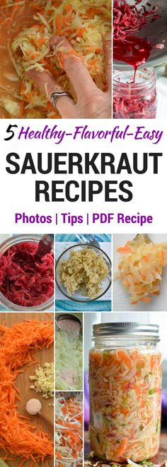 Set of Sauerkraut Recipes to Please Any Palate [Gut Health] Sauerkraut recipes with photos and tips for making homemade sauerkraut in a mason jar. Simple fermentation process rich in probiotics & enzymes [Gut Health] Canning Recipes, Healthy Recipes, Sauce Recipes, Easy Sauerkraut Recipe, Homemade Sauerkraut, Making Sauerkraut, Probiotic Foods, Fermented Foods, Recipes