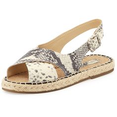 Pour la Victoire Olivia Snake-Embossed Espadrille Sandal (€64) found on Polyvore featuring shoes, sandals, natural, woven sandals, leather espadrilles, slingback shoes, leather slingback sandals and espadrille sandals