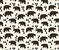 Geometric Bear - Cream by Andrea Lauren fabric by andrea_lauren on Spoonflower - custom fabric