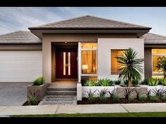 Eden - Modern New Home Designs - Dale Alcock Homes Bungalow House Design, Modern Bungalow, Modern House Design, Villa Design, Facade Design, Exterior Design, One Storey House, Front House Landscaping, Modern Farmhouse Plans