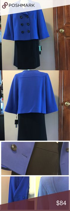 """NWT Tahari woman's formal dress suit NWT Tahari  formal dress suit , dark blue with black skirt . Length from shoulders to bottom 23"""", sleeve 19,5"""", Skirt length 23"""" , waist 34"""".   Necklace is not included Tahari Other"""