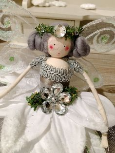 Christmas Tree Top Fairy - White, Silver and green by FabulousFairyFactory on Etsy