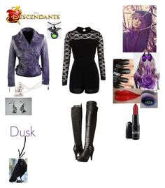 """""""Melissa Cent - Daughter of Maleficent and sister of Mal (Dusk is the daughter of Diablo)"""" by maxinehearts ❤ liked on Polyvore featuring Madden Girl, Villain, disney, OC and Descendants"""