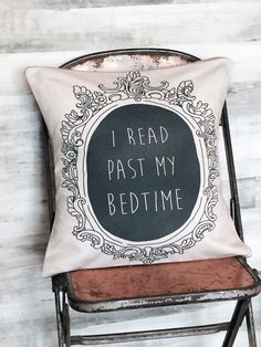 Pillow Cover Book Lover I Read Past My Bedtime by JolieMarche