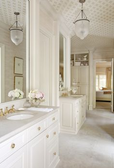 Love every single thing about this!!! Especially brass fixtures and wallpapered ceiling!!!!!        Design Chic: January 2011 -amazing bathroom - love the wallpapered ceiling