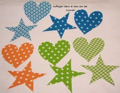 *große Aufbügler Stoff ♥Herz & Stern ♥ 2er Set-  AUSWAHL*     1 Herz & 1 Stern -AUSWAHL     flott gemacht  einfach aufbügeln  Schutzpapier abziehen...