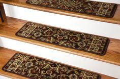 Dean Flooring Company Dean Premium Carpet Stair Treads - Classic Keshan Chocolate Brown Rug Runners Set of 13 : 31 Inch Width Brown Rug, Carpet Runner, Rugs, Brown Carpet, Stain Remover Carpet, Carpet, Carpet Stair Treads, Stair Treads, Stair Tread Rugs