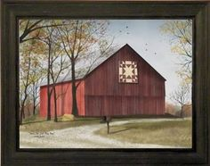 Amazon.com: Amish Star Quilt Block Barn by Billy Jacobs 15x19 Red Barn Country Landscape Primitive Folk Art Print Wall Décor Framed Picture: Home & Kitchen