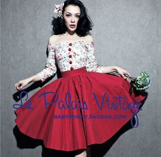 Le Palais Vintage Limited Edition Floral and Red Patchwork 50s 60s Rockabilly Dress LPV001