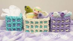 Canastas cuadradas tejidas en el punto waffle crochet XL con trapillo!
