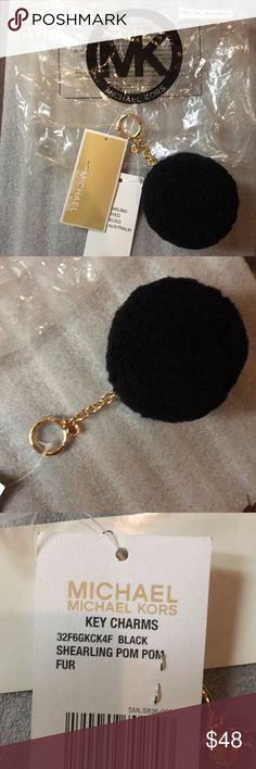 Michael Kors Black Shearling Pompom Gold Keychain Brand new with tags Black 100% Authentic Michael Kors® Measurements: 6 inches Total Length 3 inches Bust Around Ships out same day!! MICHAEL Michael Kors Accessories Key & Card Holders